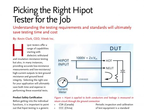 Picking the Right Hipot Tester For The Job – as published in Power Systems Design Magazine – 9/2018