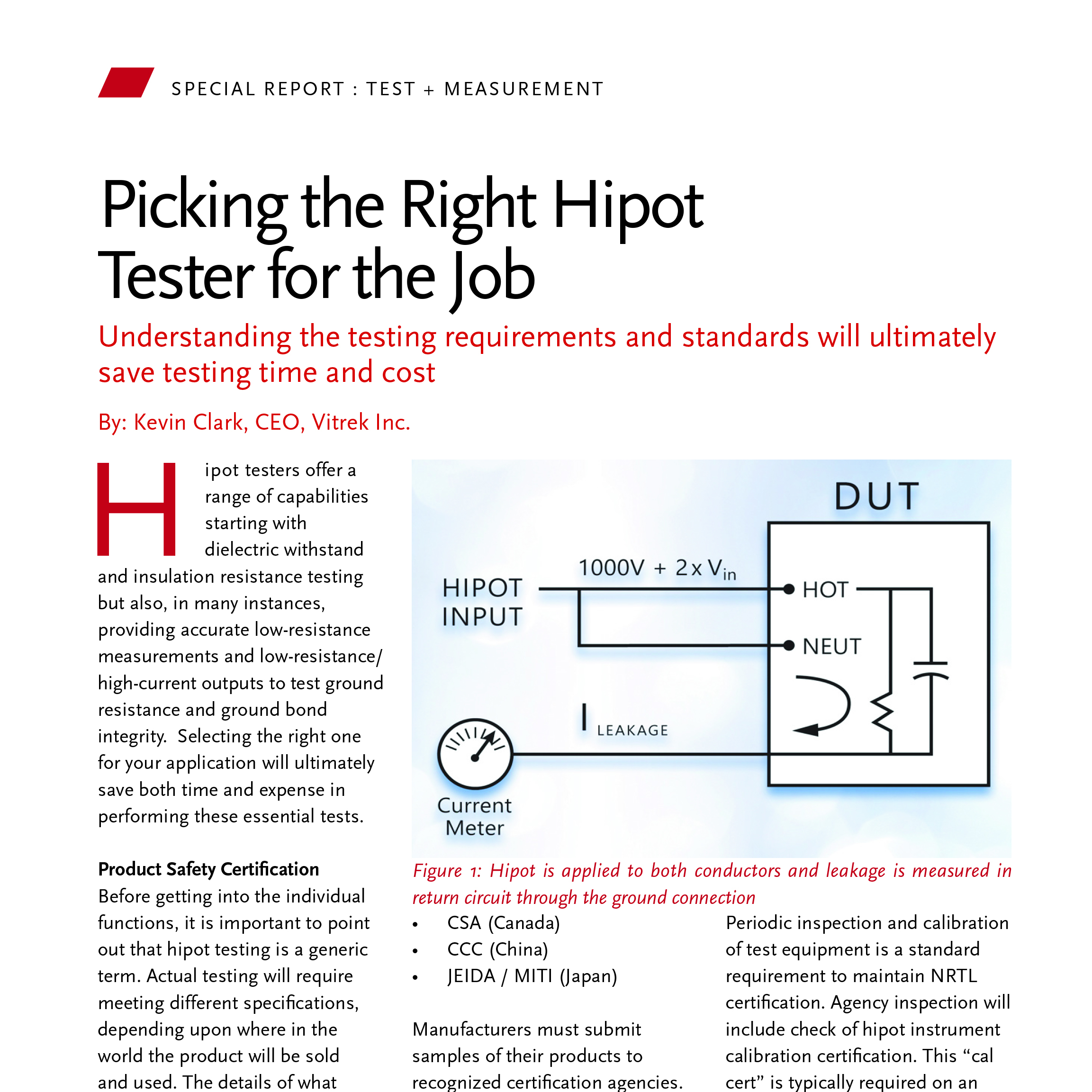 Picking The Right Hipot Tester For Job As Published In Power Resistance Measurement Circuit Diagram Systems Design Magazine 9 2018 Vitrek