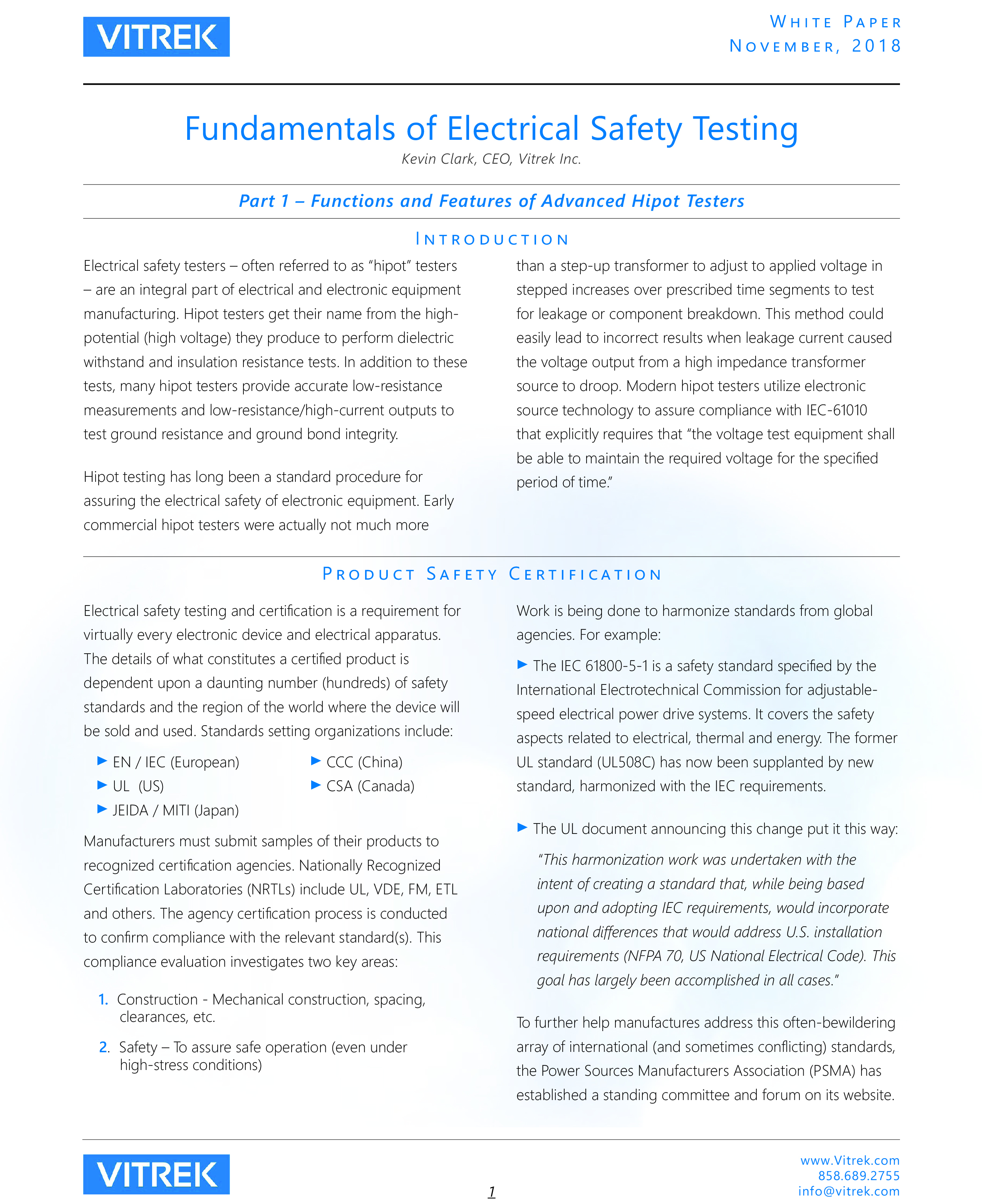 vitrek whitepaper fundamentals of electrical safety testing