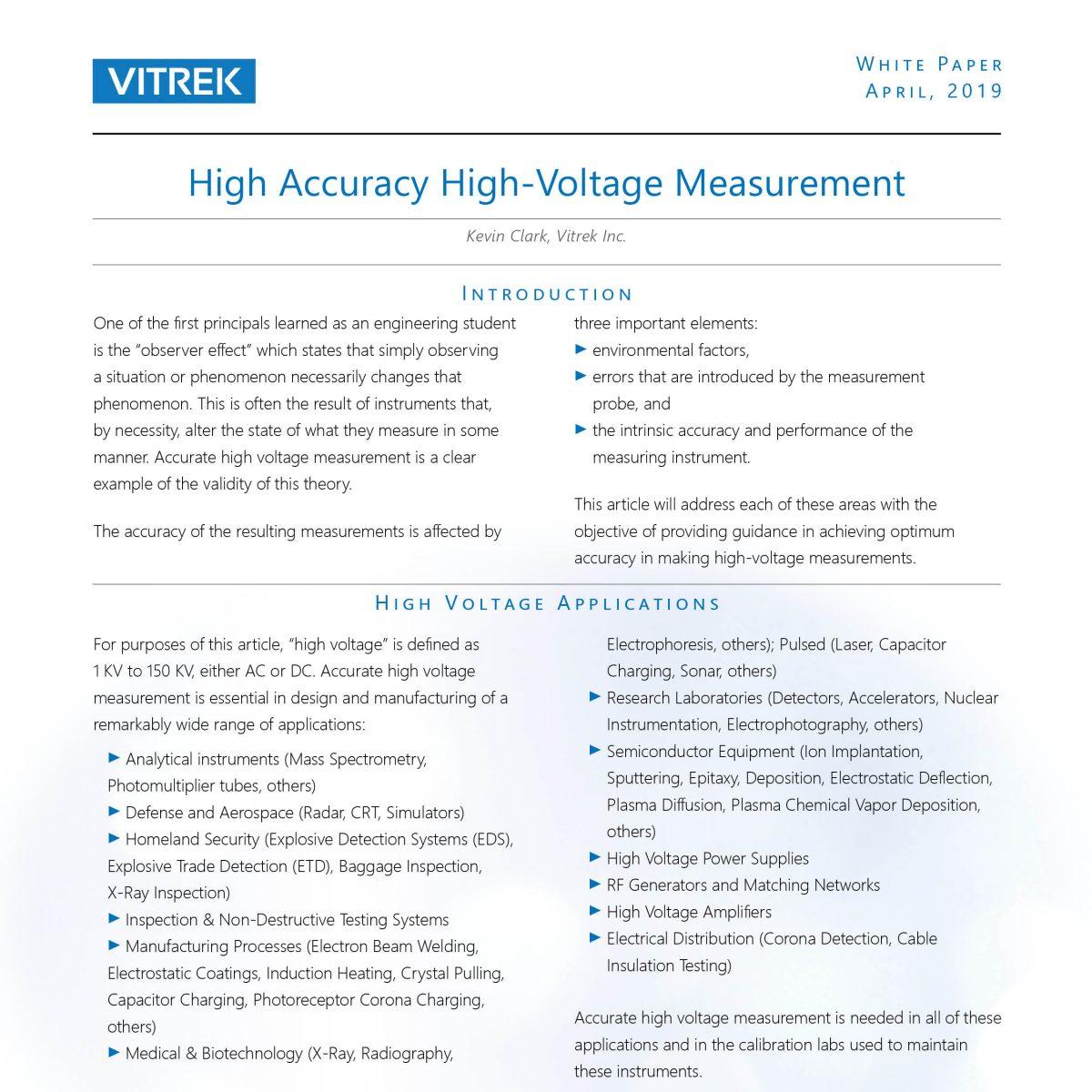 Vitrek_High Voltage Measurement WP front image