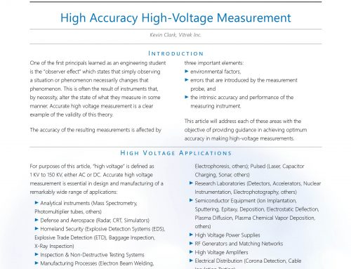 White Paper: High Accuracy, High Voltage Measurement – April, 2019