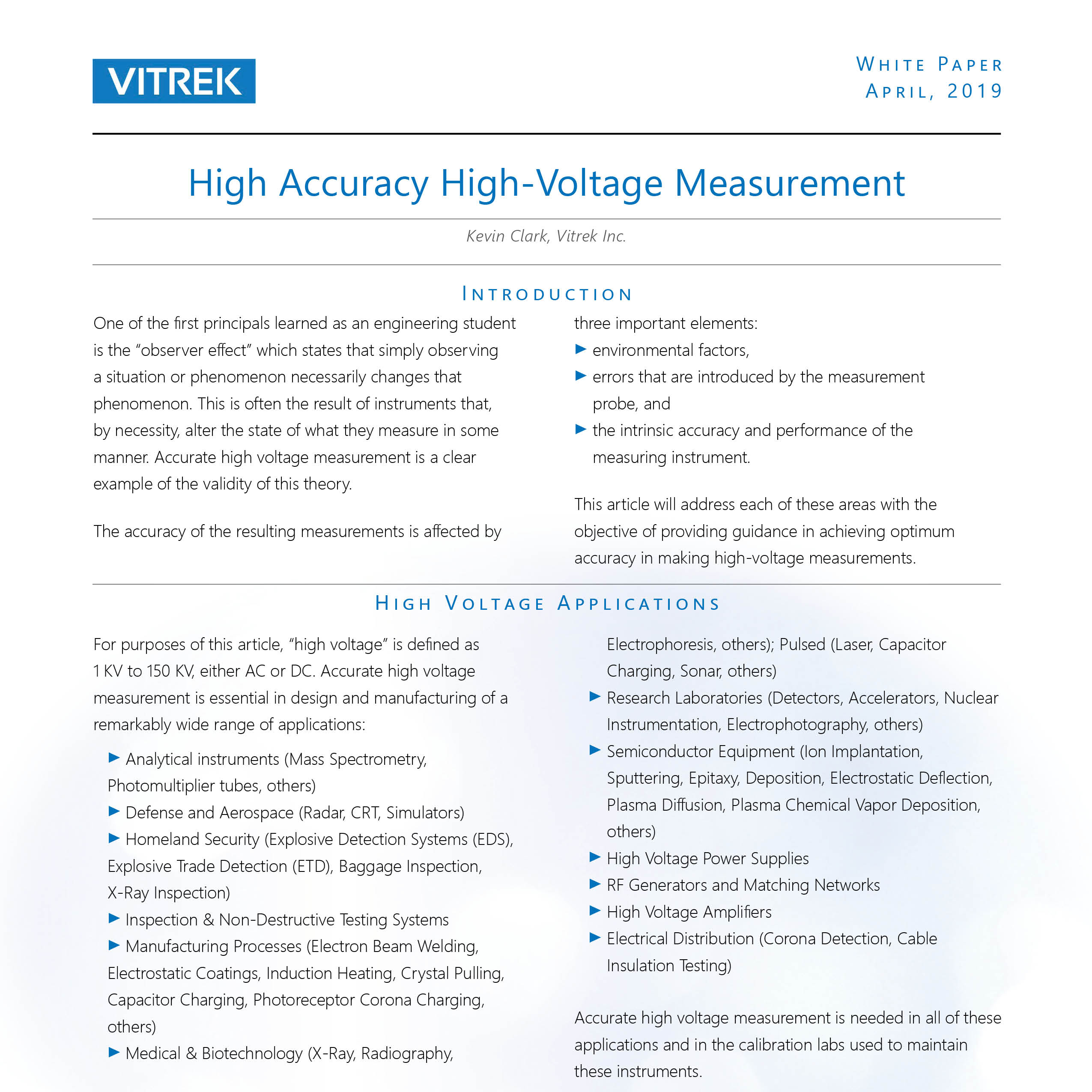 Vitrek_High Voltage Measurement WP front image