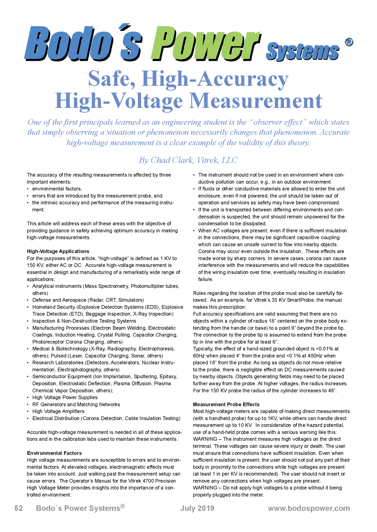 bodo power safe high accuracy high voltage measurement