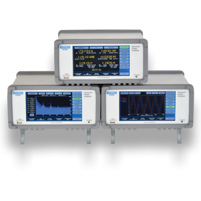 Figure 1. Power Analyzer screens are designed to display test setup, digital display of measurements as well as scope presentation of data.